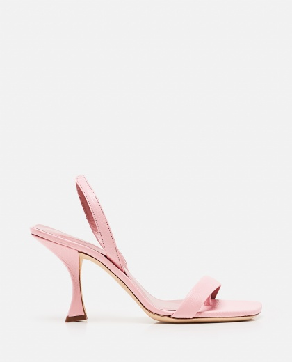 Lotta Peony hammered leather heeled sandals