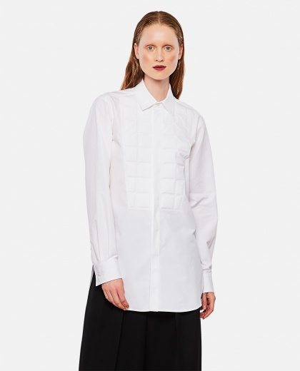 Long-sleeved cotton popeline shirt