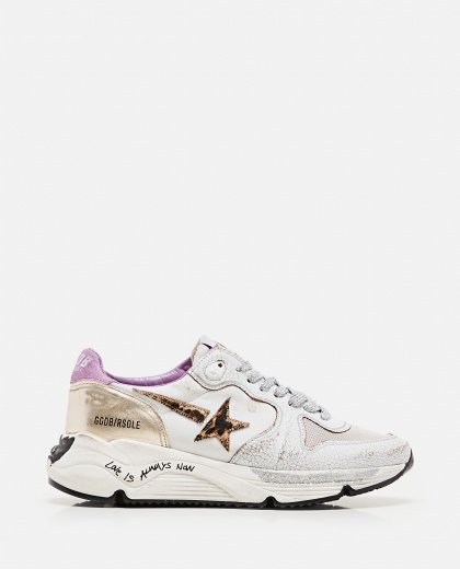 Golden Goose running sole sneakers in nylon and crackle leather Women Golden Goose 000286920042316 1
