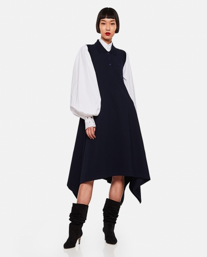 Cotton midi dress with Anagram embroidered polo collar Women Loewe 000258500038196 1