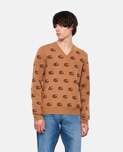 Wool sweater with GG jacquard motif Men Gucci 000292840043140 1