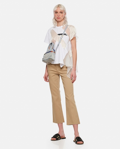 Punk T-shirt with tulle inserts Women Sacai 000301030044224 2