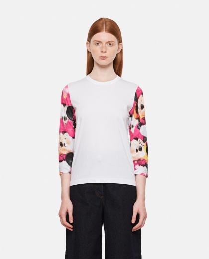 Heart Eyes T-shirt with contrasting sleeves Women Comme des Garcons 000316430046355 1