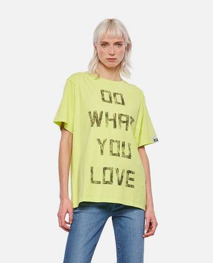 Lime-colored Aira T-shirt with contrasting black lettering on the front Women Golden Goose 000286530042276 1