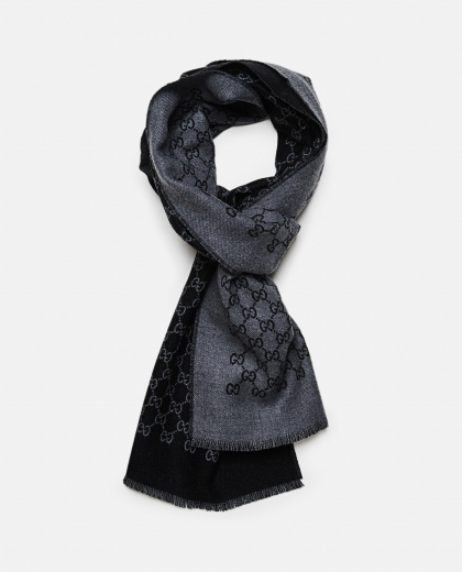 Double wool jacquard scarf with GG motif Men Gucci 000060700009986 2