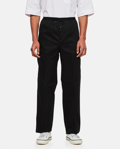 Loose fit trousers in cotton gabardine with drawstring Men Valentino 000295120043413 1