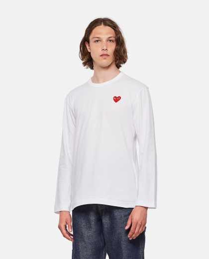 Long sleeve heart patch T-shirt Men Comme des Garcons Play 000092250014278 1