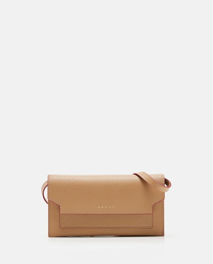 Leather wallet with shoulder strap Women Marni 000081700038002 1