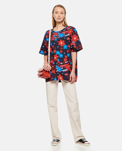 Rainbow Flowe print cotton poplin shirt Donna Marni 000289610042649 2
