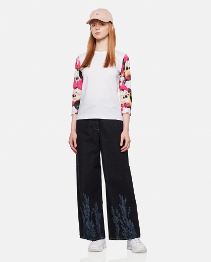 Heart Eyes T-shirt with contrasting sleeves Women Comme des Garcons 000316430046355 2