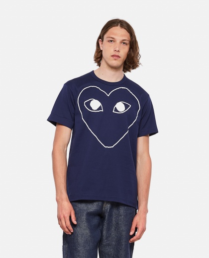 Cotton T-shirt with heart print Men Comme des Garcons Play 000290220042739 1