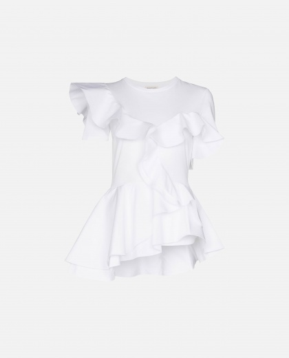 T-shirt with ruffles.