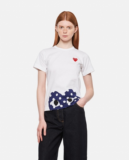 Cotton T-shirt with polka dot heart print and patch Women Comme des Garcons Play 000111550016910 1