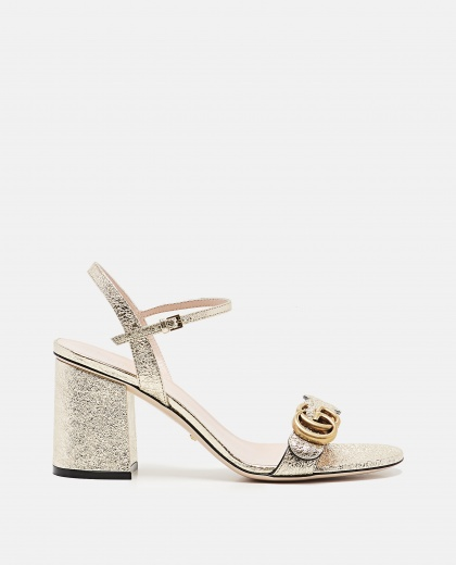 Metallic Laminate Leather Mid-Heel Sandal