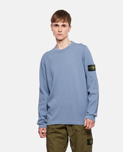 Cotton sweater with logo patch Men Stone Island 000292730043110 1