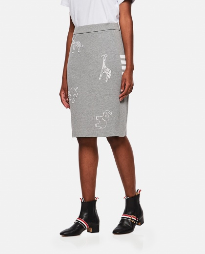 Straight cut skirt with embroidery Women Thom Browne 000274900040472 1