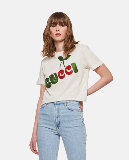 Cotton T-shirt with Gucci cherry print Women Gucci 000287190042345 1