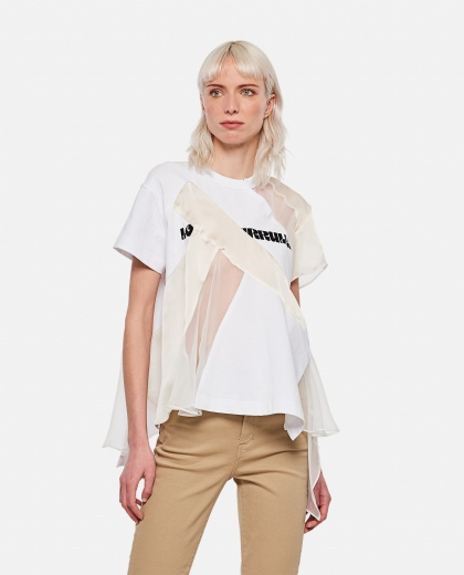 Punk T-shirt with tulle inserts Women Sacai 000301030044224 1