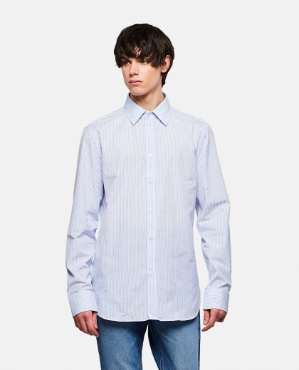 Striped fil coupé cotton shirt with Quadro G detail Men Gucci 000292850043141 1
