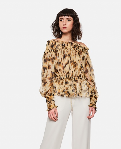 Blouse with flounced neck