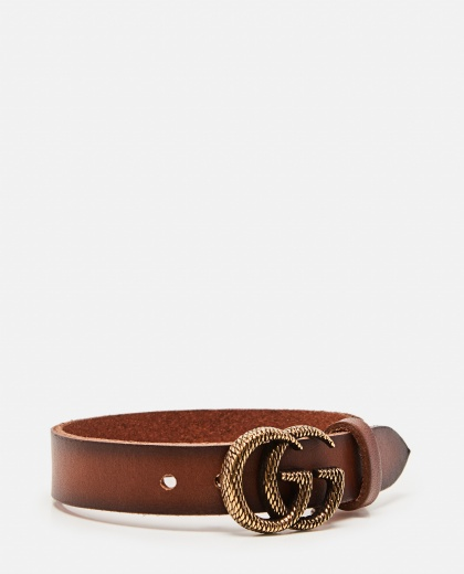 Leather bracelet with engraved Double G Women Gucci 000287620042402 2