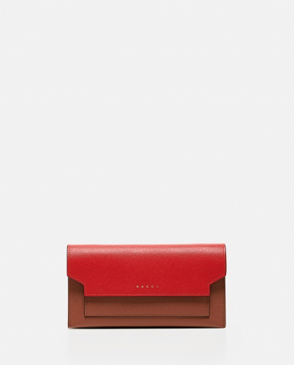 Trunk leather wallet with shoulder strap Women Marni 000289790042683 1