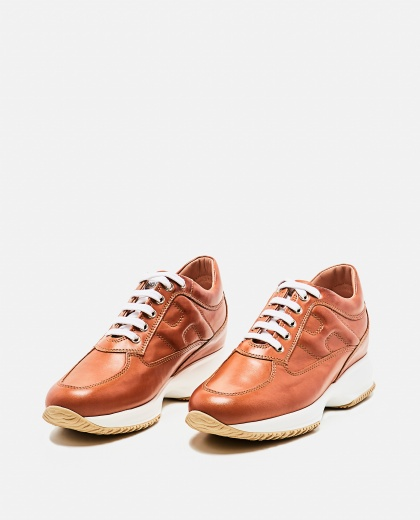 Interactive Brown Sneaker Women Hogan 000261710038725 2