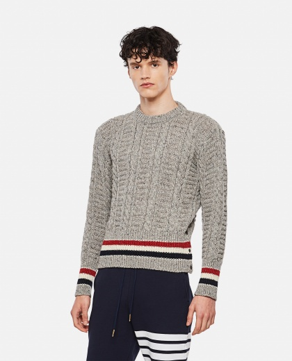 DONEGAL WOOL AND MOHAIR CABLE KNIT SWEATER Men Thom Browne 000325860047605 1