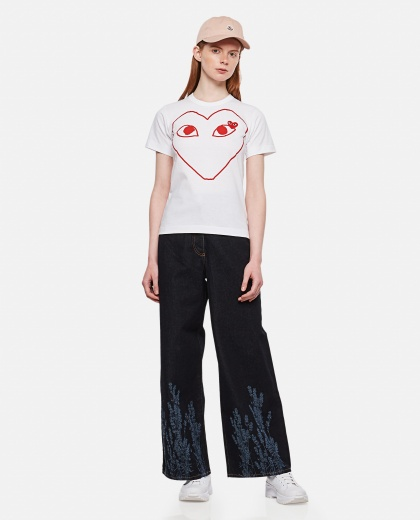 T-shirt with print and heart patch Women Comme des Garcons Play 000106880016284 2