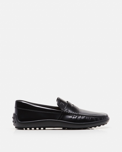 Loafers with black rubber sole