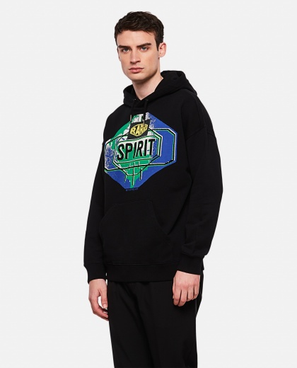 Black brushed hooded sweatshirt