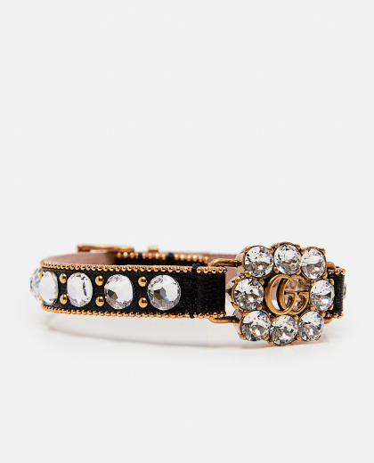 Leather bracelet with Double G and crystals Women Gucci 000287640042404 2