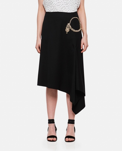 Asymmetric skirt with decoration