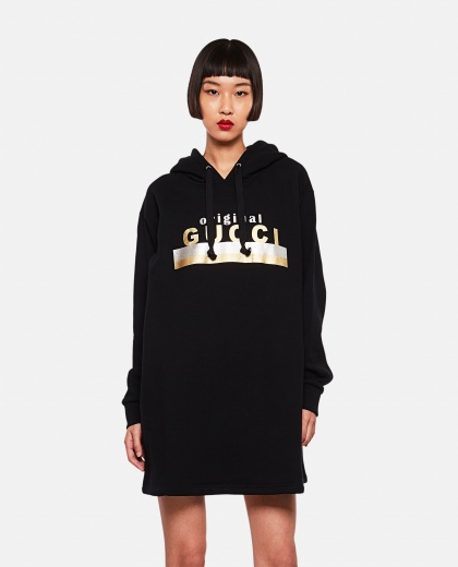 Hooded dress with 'Original Gucci' print Women Gucci 000259200038348 1