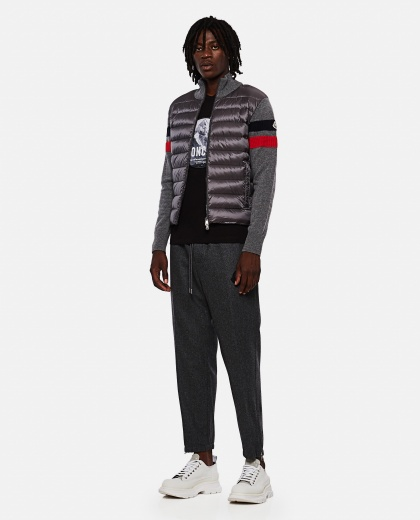 Wool trousers with logo patch Men Moncler 000271470039992 2