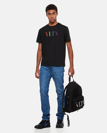 Cotton crew neck T-shirt with VLTN MULTICOLORS print Men Valentino 000294680043348 2