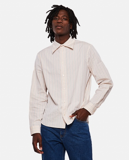 Délavé effect striped cotton shirt