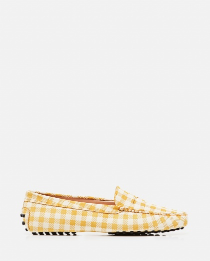 Leather Gommino loafer with checks print Women Tod's 000310690045556 1