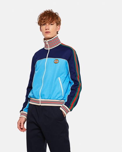 Technical jersey jacket with zip and Web tape Men Gucci 000293320043197 1