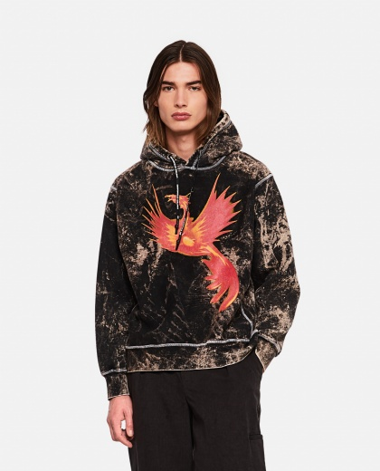 Hooded sweatshirt with phoenix print