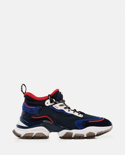 Lace-up sneaker in leather Men Moncler 000308630045262 1