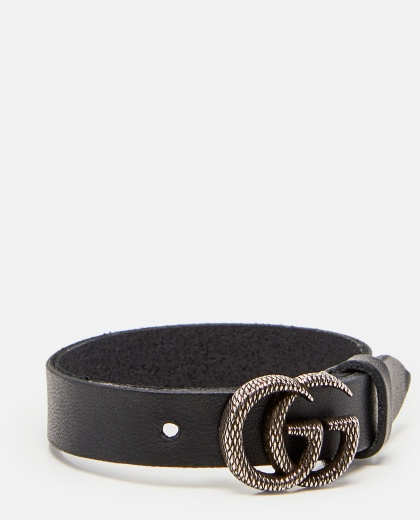 Leather bracelet with engraved Double G Women Gucci 000287630042403 2