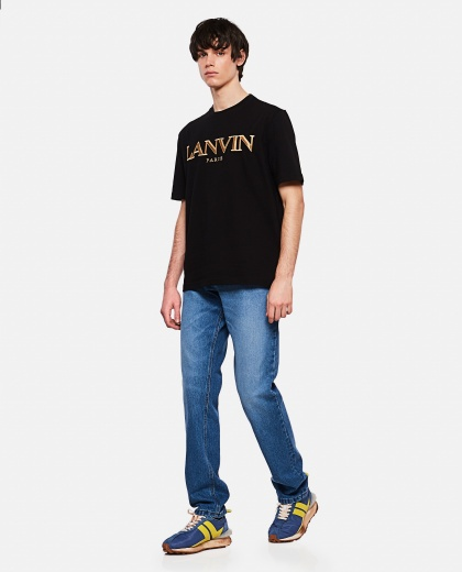 Cotton T-shirt with logo embroidery Men Lanvin 000309360045381 2