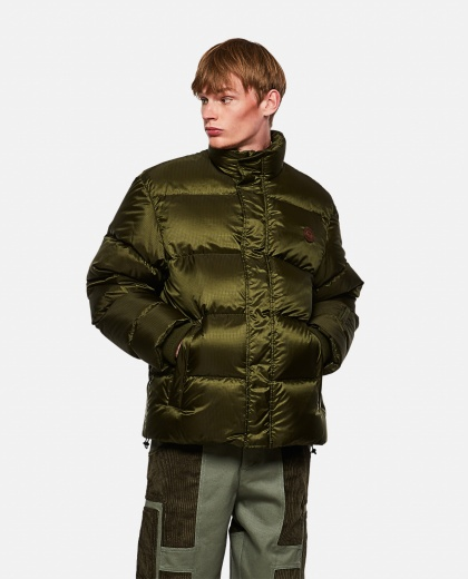 Padded nylon jacket with 'think / thank' print Men Gucci 000269580039724 1