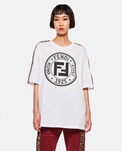 Fendi cotton T-shirt with FF bands Women Fendi Leisure Wear 000256310037863 1