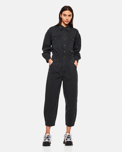 Pleated Barrel Leg Jumpsuit Washed Black Women Frame 000286240042245 2