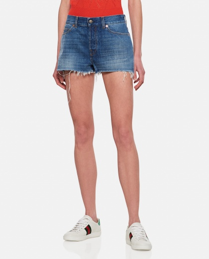 Shorts in denim con trattamento eco Donald Duck Disney x Gucci Donna Gucci 000287150042341 1