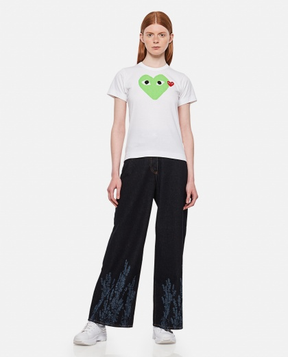 Cotton T-shirt with heart print Women Comme des Garcons Play 000092230014273 2