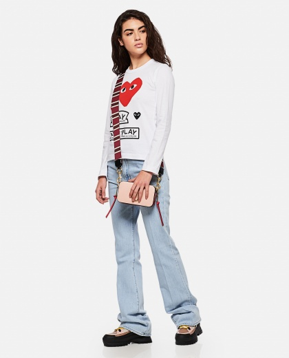 T-shirt with logo and hearts print Women Comme des Garcons Play 000267270039437 2