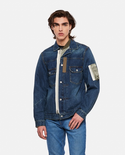 Layered denim jacket Men Sacai 000301180044241 1